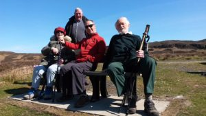 A new bench along the River Ewe provided a welcome rest for some of the Step-It-Up Walkers