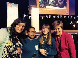 Teacher Jennifer Coatsworth and pupils Albey Antony and Isla Maciver with First Minister Nicola Sturgeon